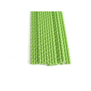 Lime Green Dotted Party Straws (25)