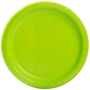 Neon Green Paper Plates Large ( 16)
