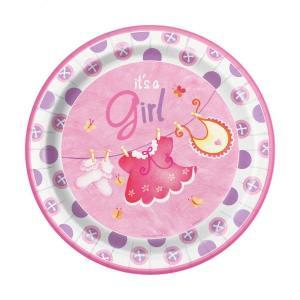 Pink Clothesline Paper Plates Large (8)
