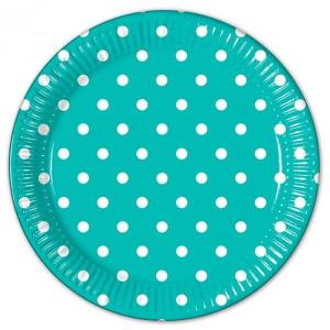 Turquoise Dotted Paper Plates (8)