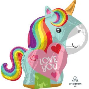 Rainbow Unicorn Love You Foil Balloon