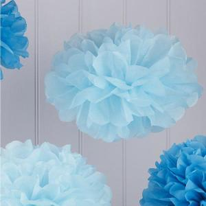 Vintage Lace Tissue Paper Pom Poms Blue Shades (5)