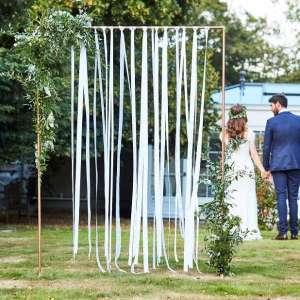 Botanical Wedding White Ribbon Hanging Backdrop