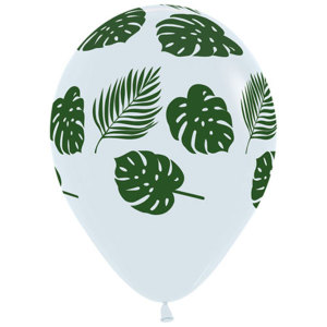 Jungle Leaves on White Latex Balloons (5)