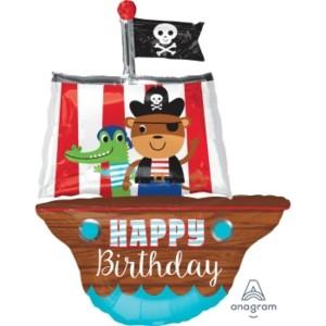 Pirate Ship Happy Birthday Supershape Foil Balloon