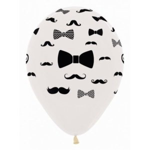 Moustache and Bow Tie Assorted Latex Balloons (5)