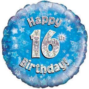 Blue Happy Birthday Foil Balloon 16th