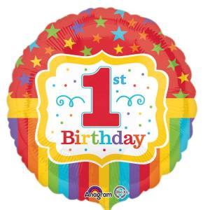 1st Happy Birthday Balloon Rainbow Stripes