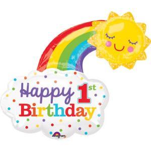 1st Birthday Rainbow Supershape Balloon