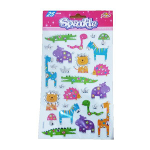 Animal Jungle Sparkle Embossed Stickers