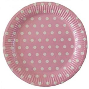 Light Pink Dotted Paper Plates (10)