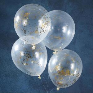 Pick & Mix Gold Glitter Confetti Balloons (5)
