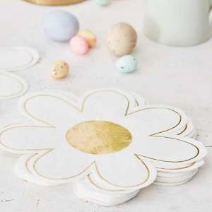 Daisy Crazy Gold Foiled Daisy Serviettes (16)