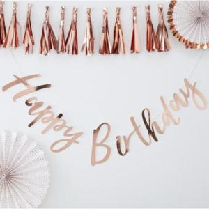 Pick & Mix Rose Gold Happy Birthday Backdrop