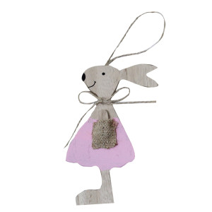 Pink Wooden Hanging Bunny