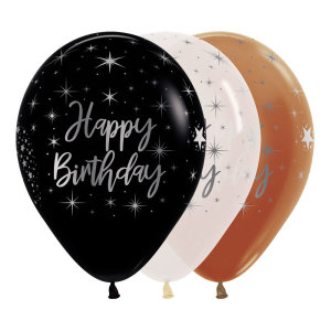 Metallic Happy Birthday Latex Balloons (5)