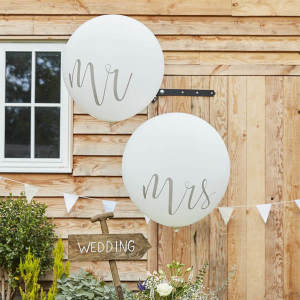 Rustic Country -  Huge White 36 inch latex Mr & Mrs Balloons