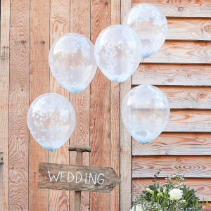 Rustic Country - White Confetti Balloons 12 inch (5)
