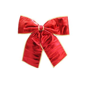 Big Red Material Bow with Gold Trim