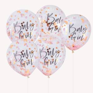 Rose Gold Baby Girl Confetti Balloons (5)