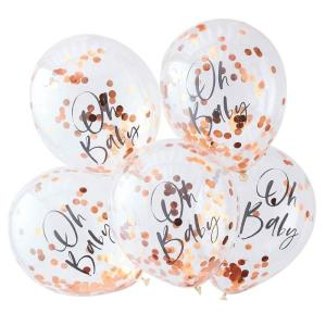 Rose Gold Oh Baby Confetti Balloons (5)