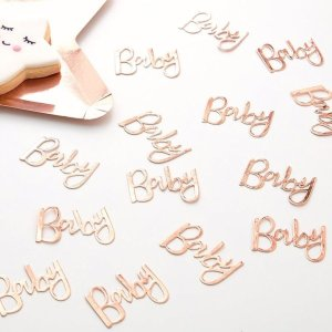 Rose Gold Baby Shower Table Confetti