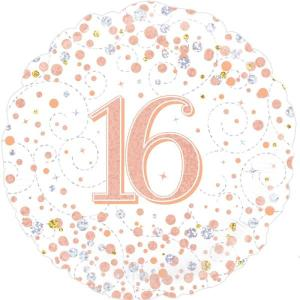 Sparkling Rose Gold 18 inch Foil Balloon 16th Birthday
