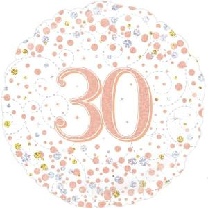 Sparkling Rose Gold 18 inch Foil Balloon 30th Birthday