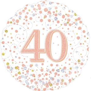 Sparkling Rose Gold 18 inch Foil Balloon 40th Birthday