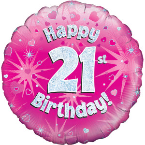 Pink Happy Birthday Foil Balloon 21st