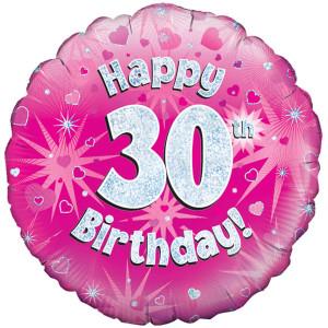 Pink Happy Birthday Foil Balloon 30th