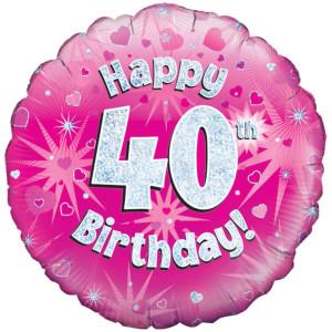 Pink Happy Birthday Foil Balloon 40th