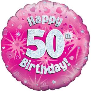 Pink Happy Birthday Foil Balloon 50th