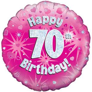 Pink Happy Birthday Foil Balloon 70th