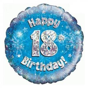 Blue Happy Birthday Foil Balloon 18th