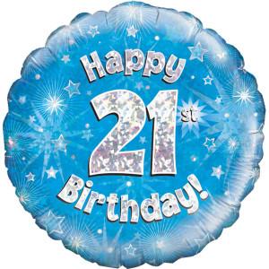 Blue Happy Birthday Foil Balloon 21st