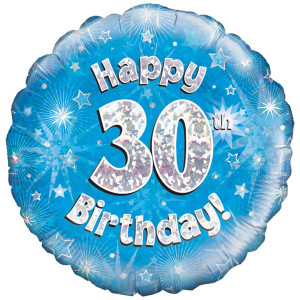 Blue Happy Birthday Foil Balloon 30th
