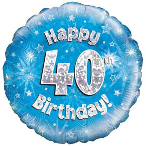 Blue Happy Birthday Foil Balloon 40th