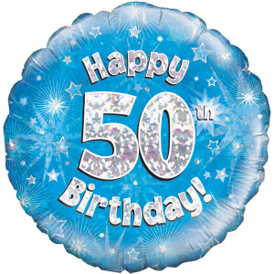 Blue Happy Birthday Foil Balloon 50th