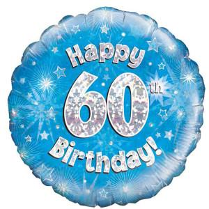 Blue Happy Birthday Foil Balloon 60th