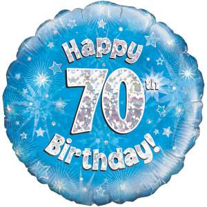 Blue Happy Birthday Foil Balloon 70th