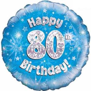 Blue Happy Birthday Foil Balloon 80th