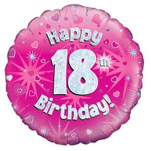 Pink Happy Birthday Foil Balloon 18th