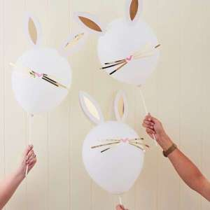 Daisy Crazy Balloons with Gold Foiled Stick on Whiskers and Ears (5)