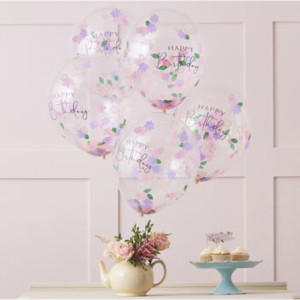 Lets ParTea Floral Confetti Happy Birthday Balloons (5)