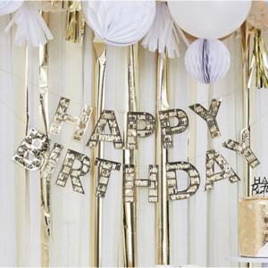 Mix It Up Gold Fringe Happy Birthday Bunting