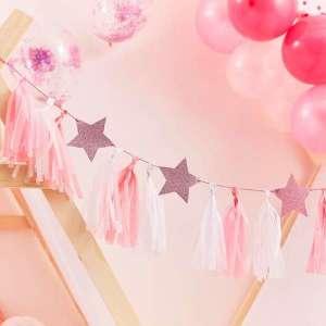 Pamper Tassel Garland with Pink Glitter Stars