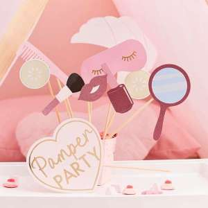 Pamper Party Pink Glitter and Foiled Photobooth Props (10)
