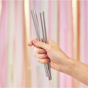 Mix It Up Silver Stainless Steel Straws (5)