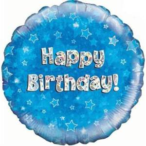 Blue Holographic Happy Birthday Foil Balloon 18inch